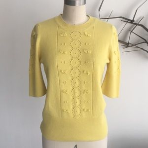 Barrie canary yellow short sleeve cashmere sweater